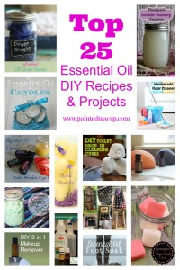 Top 25 Essential Oil DIY Recipes & Projects. DIY Cleaning, Beauty, Remedies, Diffuser, Storage & more! www.paintedteacup.com