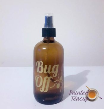 Bug Off vinyl spray bottle label.