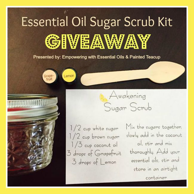 Enter to win an Essential Oil Sugar Scrub Kit! Giveaway runs until September 7, 2015 at 11:59pm EST