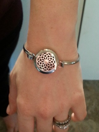 lotus flower bangle bracelet. essential oil diffusing jewelry. www.paintedteacup.com