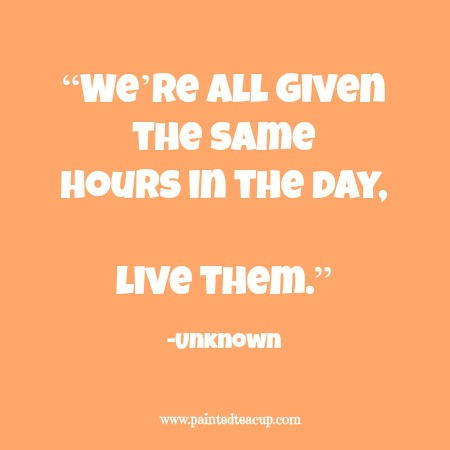 """We're all given the same hours in the day, live them."" 12 Productivity Quotes. www.paintedteacup.com"