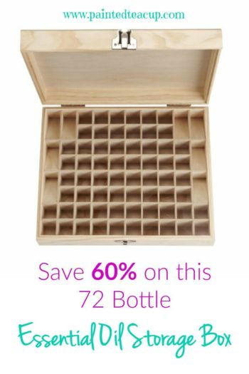 This essential oil storage box holds 72 bottles including room for 8 roller bottles! It has high good reviews on Amazon and is currently 60% off!