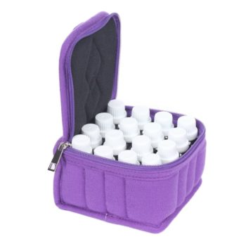This case is soft sided (making it perfect for traveling) and it holds up to 16 essential oil bottles (both 5 & 15ml). This case only has one customer review which is a 5 star rating. It is currently on for $11.99.