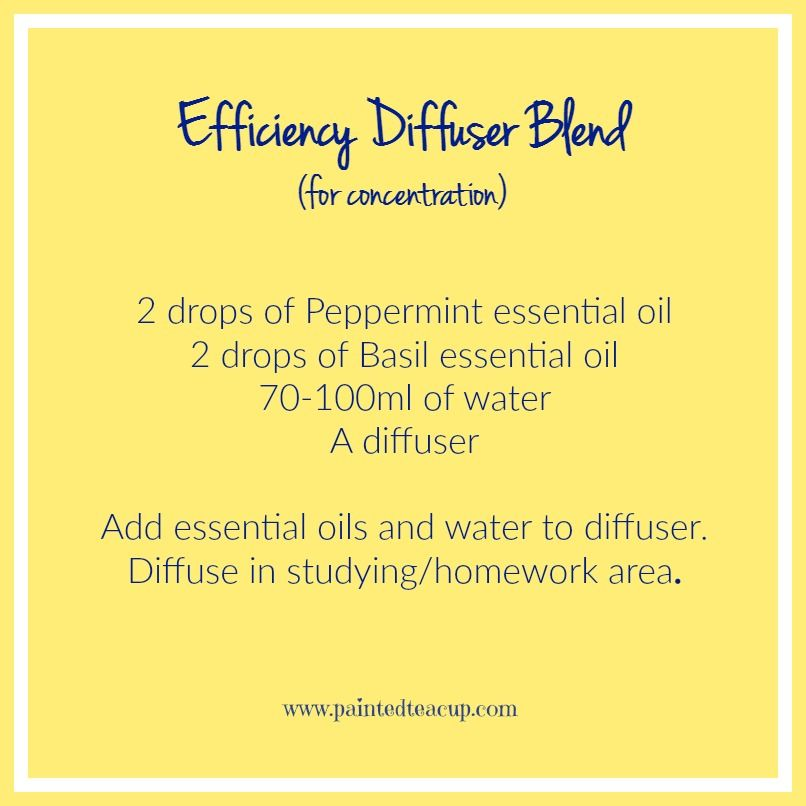 Efficiency Diffuser Blend to improve mental focus using essential oils