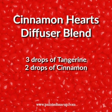 Cinnamon hearts essential oil diffuser blend using tangerine and cinnamon essential oils! Click the image to get 4 more tangerine diffuser blends and a free printable with all 5 diffuser recipes!