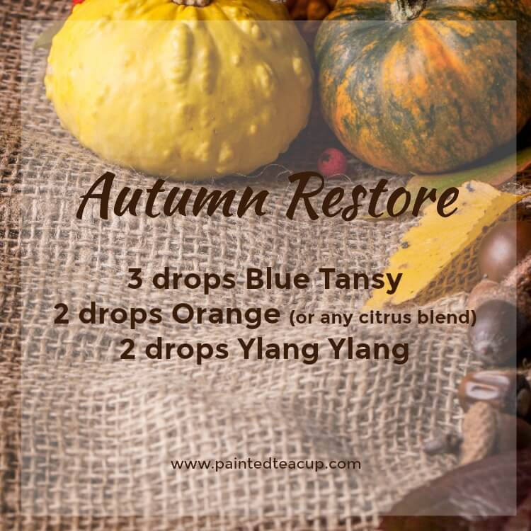 Autumn Restore Essential Oil Diffuser Recipe for the Holidays. Diffuser blend with blue tansy, orange and ylang ylang