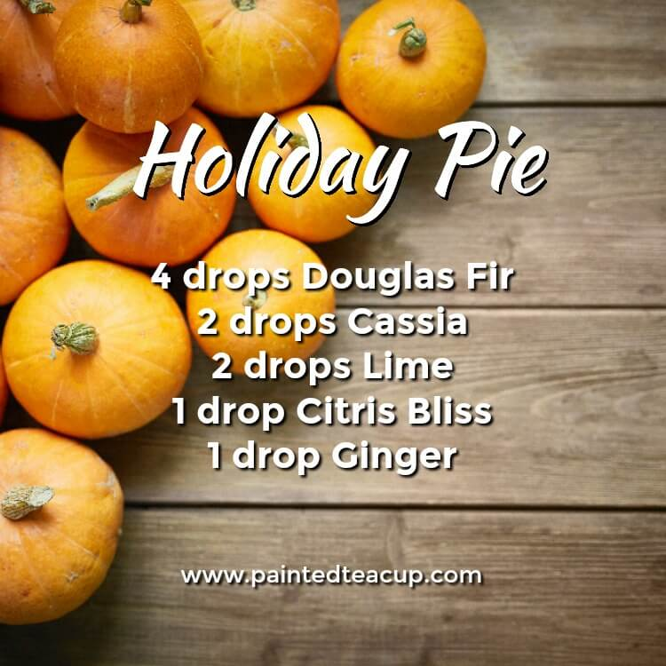 Holiday Pie Essential Oil Diffuser Recipe for the Holidays. Diffuser blend made with douglas fir, cassia, lime, citrus bliss and ginger