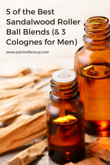 Sandalwood essential oil has so many amazing benefits! This post shares 5 easy sandalwood roller ball blends (for everyone) plus 3 colognes for men! #essentialoils #rollerbottleblend #rollerballblend #makeandtake #diycologne #essentialoilcologne #sandalwood #sandalwoodessentialoil