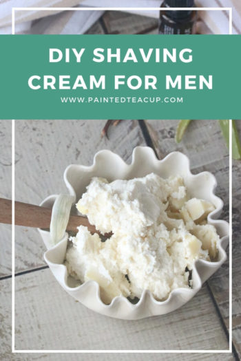 While this frugal, all-natural diy shaving cream was made with men in mind (hence the sandalwood essential oil), it can easily be adjusted for women too! #essentialoils #diyshavingcream #essentialoilsformen #homemadeshavingcream